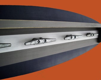 4 Foot Surfboard Coat Rack and Shelf with Cleat Hooks Navy and Gray