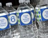 10 Argyle Water Bottle Labels - Argyle Golf Theme Personalized Party Decorations