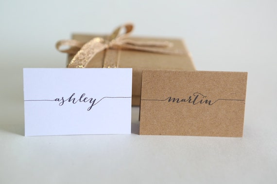 TENTED PLACE CARDS | calligraphy, wedding, engagement, label, escort cards, personalised, name tags | minimalist, typography, simple, modern