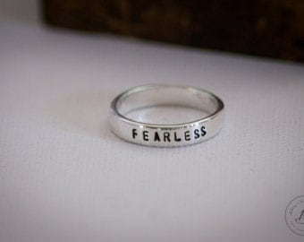 Fearless - Personalized Hand Stamped Ring - Sterling Silver