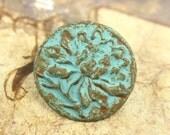 Patina Metal Buttons - Green Patina Peony Flower Metal Shank Buttons - 0.91 inch - 6 pcs