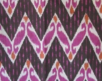 ZIG ZAG RASPBERRY designer, drapery/bedding/upholstery ikat fabric