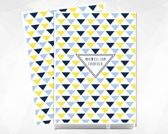 Triangle Modern Baby Memory Book for a Boy. All Baby Books come Personalized