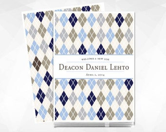 Modern Baby Memory Book // Baby Book // Baby Memory Book // Personalized // Personalised // Argyle Pattern // Baby Book for Boy