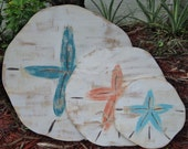 Set of 3 Sand Dollars, Wall Art, Beach House Style, Tropical Decor, Mantle Display, Weathered Wood