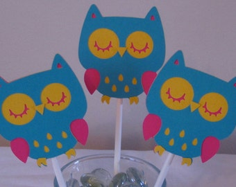 12 Pink, Turquoise, and Yellow Owl Cupcake Toppers