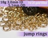 18g 3.0mm ID 5.1mm OD gold filled jump rings -- 18g3.00 goldfill jumprings 14k goldfilled jewelry supplies findings