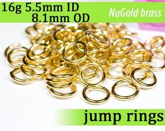 16g 5.5mm ID 8.1mm OD NuGold brass jump rings -- 16g5.50 open jumprings gold golden links supplies