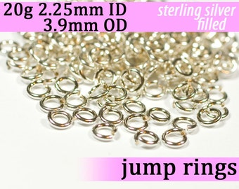 20g 2.25 mm ID 3.9 mm OD silver filled jump rings -- 20g2.25 jumprings