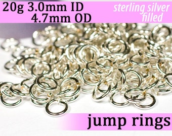 20g 3.0 mm ID 4.7 mm OD silver filled jump rings -- 20g3.00 jumprings