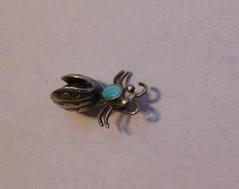 Superb Old Native American NAVAJO Bee Pin/Brooch turquoise and silver