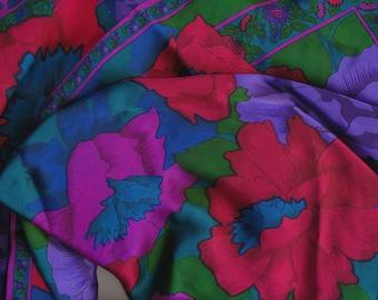 Bold Flowers Liz Claiborne Scarf silk magenta purple teal