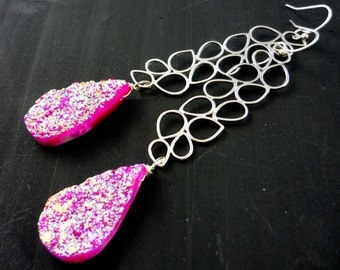 Matte silver filigree & hot pink druzy briolette long earrings. Chandelier earrings.