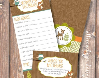 Woodland Baby Shower Printable Baby Wishes Forest Animals TWINS Wishes for Baby Game Baby Boy Boy Girl Twins Twin Boys INSTANT DOWLOAD