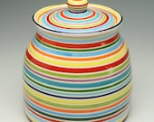 As Seen on Sept 2014 HGTV Magazine - Tall Cookie Jar - Hand Painted Stripes Ceramic Pottery