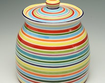 Ceramic Cookie Jar, Stripes, Tall Striped Cookie Jar, As Seen in HGTV Magazine, Hand Painted Stripes Ceramic Pottery