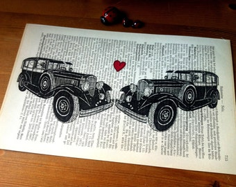 Black Oldtimer Love Valentine Wedding Anniversary Engagement Gift Personalized Art Print on Antique 1896 Dictionary Book Page