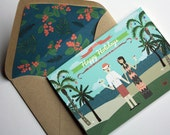 Christmas Cards with Beach Background : Custom Illustrated