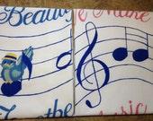We Make Beautiful Music Together - Vintage Cotton Percale Handpainted Music Notes Pillow Cases for His and Hers