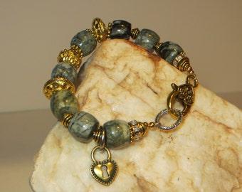 Moss Agate, Gold Vermeil and  Terra Cast Charm Bracelet