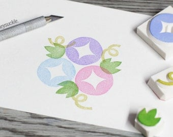 morning glory stamp, flower rubber stamp, flower stamp set, garden rubber stamp, morning glory vine, spring rubber stamp, get well soon