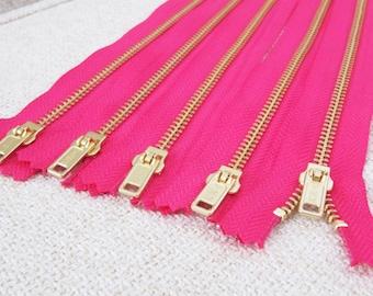 8inch - Fuchsia Pink Metal Zipper - Gold Teeth - 5pcs