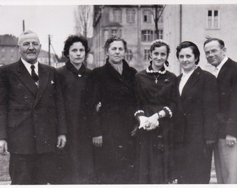 Vintage Photo - Group With Young Nun - Vintage Photograph, Vernacular, Found Photos  (EEE)