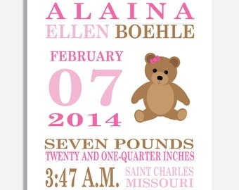 Baby Girl Nursery Decor - Birth Announcement Print - teddy bear, gift idea for babies, nursery wall art, stuffed animal, unique baby gift