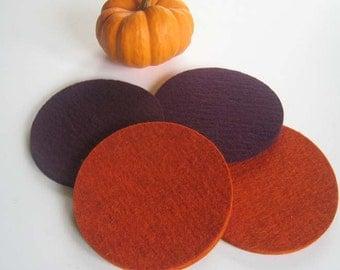 Pumpkin & Aubergine Coaster Set, Orange and Deep Purple Drink Coasters, Table Coasters, Bar Coasters