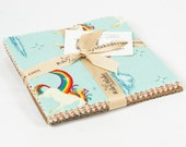 """Unicorns & Rainbows 5"""" Squares Charm Pack by Doohikey Designs for Riley Blake, 21 pieces"""