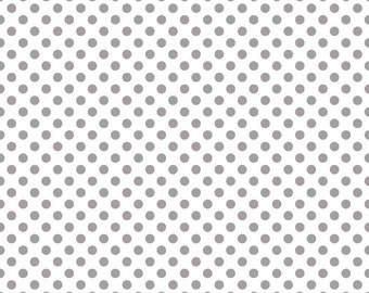 Dots Gray on White Small by RBD Designers for Riley Blake, 1/2 yard