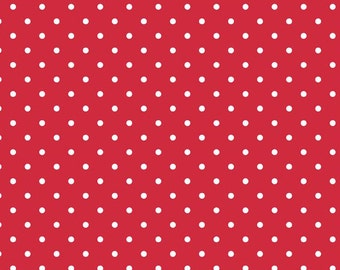 Swiss Dots White on Red for Riley Blake, 1/2 yard