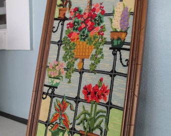 Needlepoint Flowers/Crewel Stained Glass/Wall Hanging /Mid Century Needlepoint/Stain Glass/Hanging Baskets/by Gatormom13
