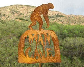 Man Cave Metal Yard Art or Garden Stick Sign