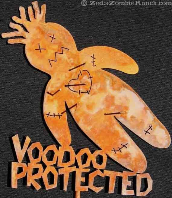 Voodoo Doll Protected Metal Garden or Yard Art Sign