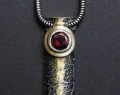 Textured Silver and Gold Pendant with Garnet - Made to Order