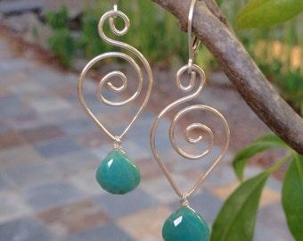 Sterling silver teardrop scroll and Persian green Chalcedony teardrop earrings