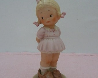 """CLEARANCE -Mabel Lucy Atwell Memories of Yesterday """"Daddy, I Can Never Fill Your Shoes"""", Porcelain Girl Figurine"""