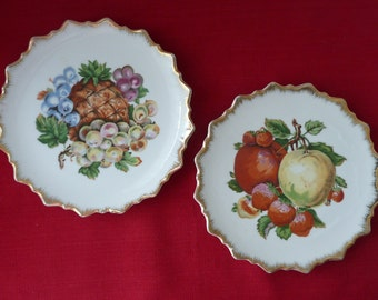 Mid Century 'Gifts From Around the World' Decorative Ceramic Transferware Fruit Plates, Made in Japan for McCrory's