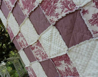 King Size Red Toile Rag Quilt, French Country Bedding, Minky, Handmade in NJ