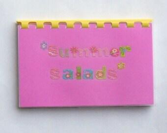 "SALE ITEM Price is marked/Handmade ""Summer Salads"" Blank Recipe Book"
