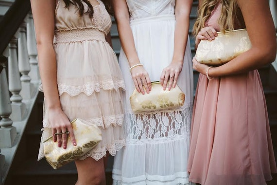 Bridesmaid Clutches Burlap/Linen Inspired Gold set of 5