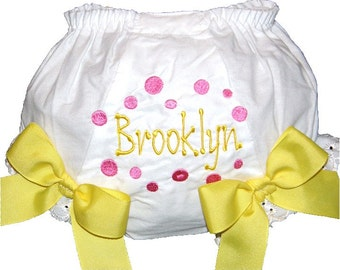 Personalized Pink Dots with Yellow Baby Girl  Bloomers, Diaper Cover, Panties