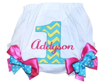 Personalized Chevron Print 1st, 2nd, 3rd, 4th Birthday Baby Girl  Bloomers, Diaper Cover, Panties