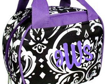 Personalized Insulated Lunch Tote Chic Bowler Style Black & White Damask Purple Trim