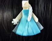 New - Frozen's Elsa  Disney Princess Inspired Ribbon Sculpture Hair Clip ...Hair Accessory ...Hairbow