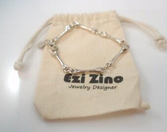 Bones Gothic Bracelet Sterling Silver 925 by Ezi Zino Jewelry Designer