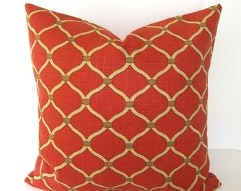 BOTH SIDES / P Kaufmann Pillow Cover / Persimmon / Tan and Cream / Silsila / Curry / Red / Tan