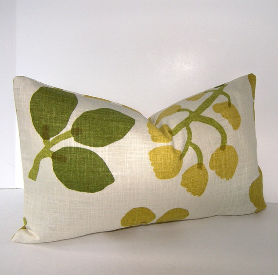 ON SALE - Both Sides - 12x18 or 12x20 inch Floral - Leaf Pillow Cover - Green - Gold//Yellow - Ivory