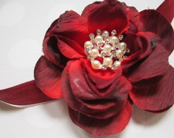 Burgandy Rose Flower Headband